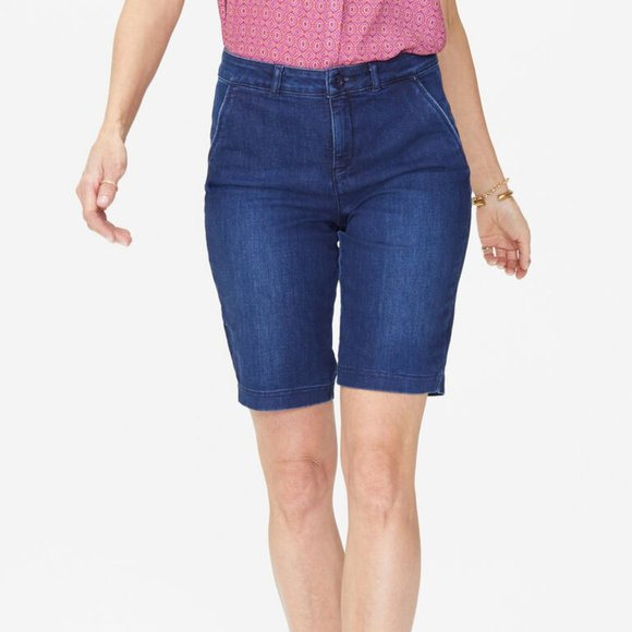 NYDJ Not Your Daughters Jeans Shorts Size 4 or 10 NWT Dark Enzyme Debby Cotton